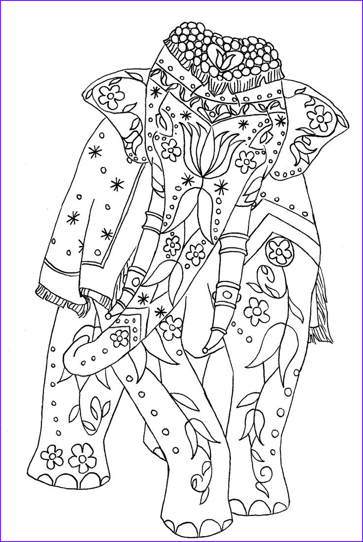 Coloring Pages Elephants New Photos Painted Elephant