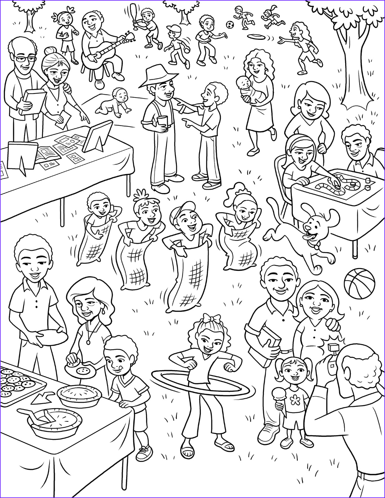 primary coloring page picnic lang=eng