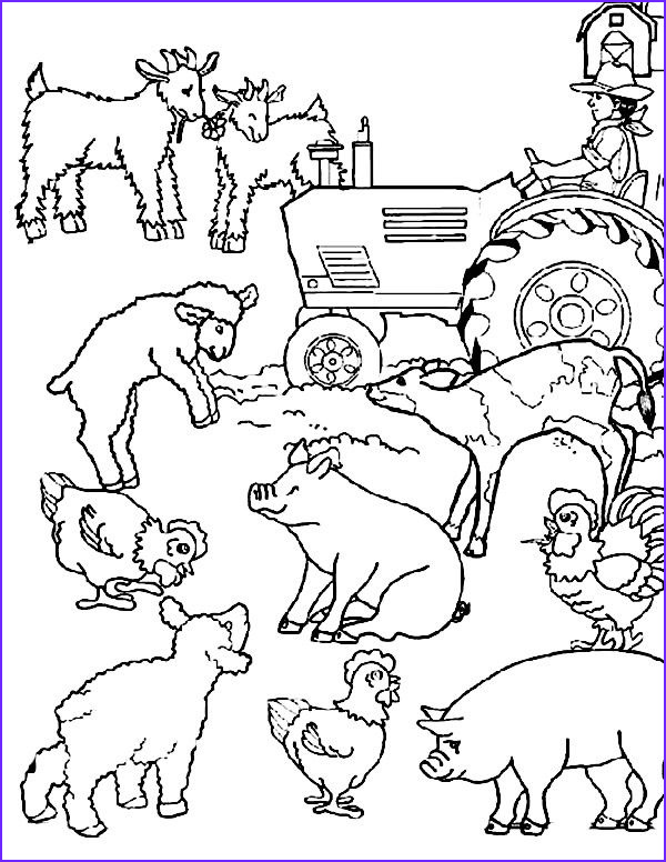 Coloring Pages Farm Animals Elegant Gallery Cartoon Farm Animal Coloring Page