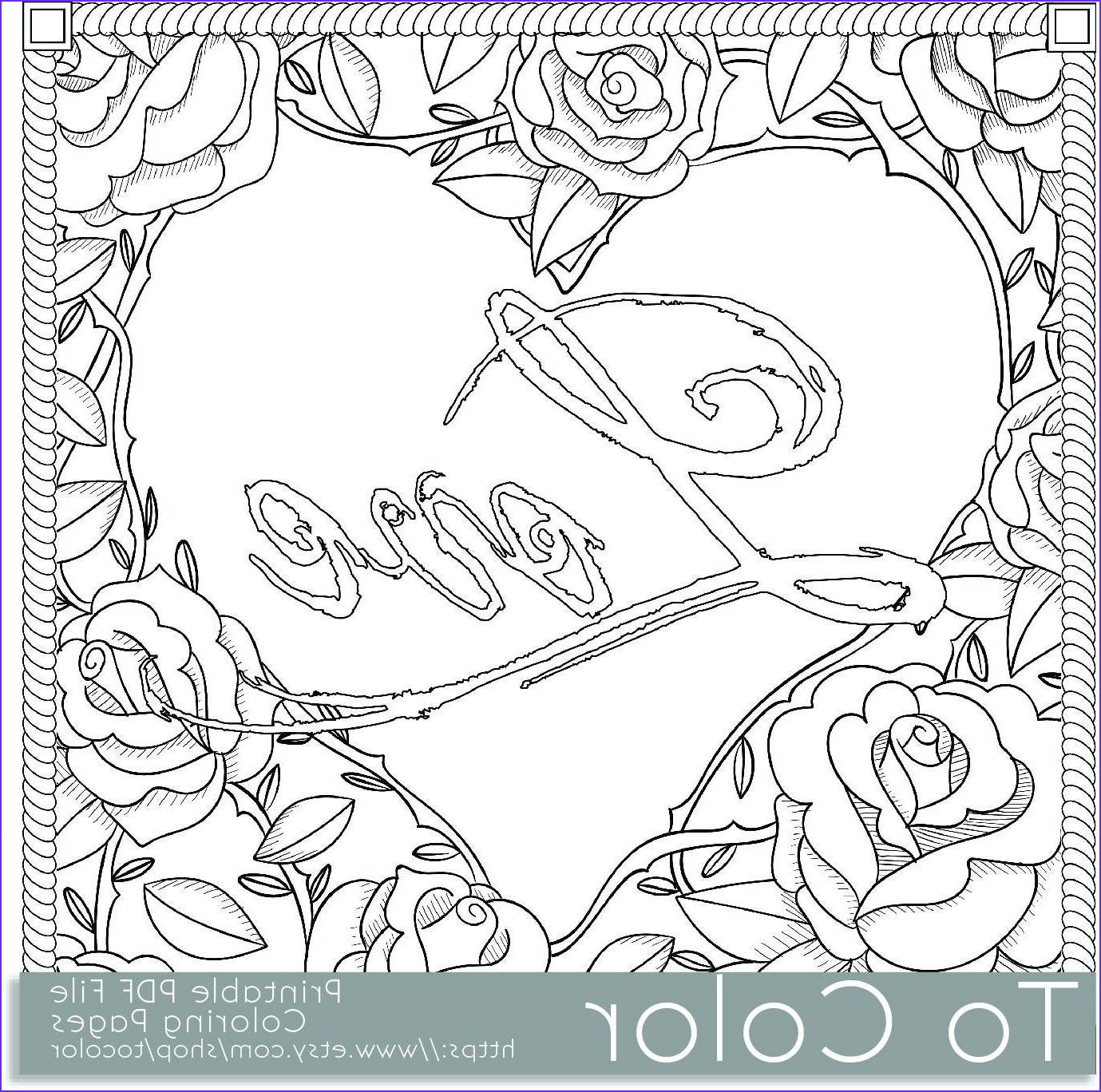 printable rose frame love coloring page