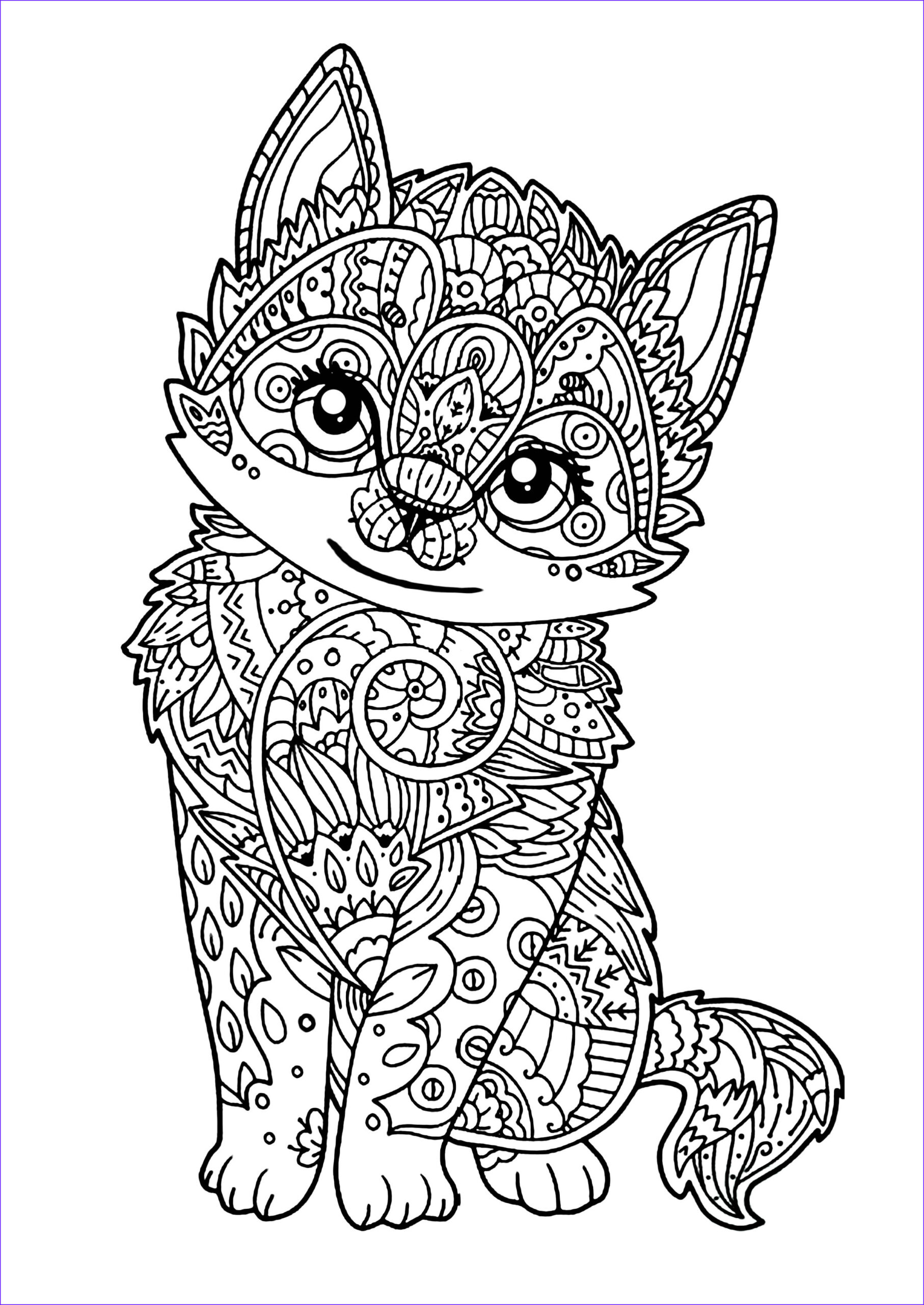 Coloring Pages Of Kittens Awesome Collection Cute Kitten Cats Adult Coloring Pages