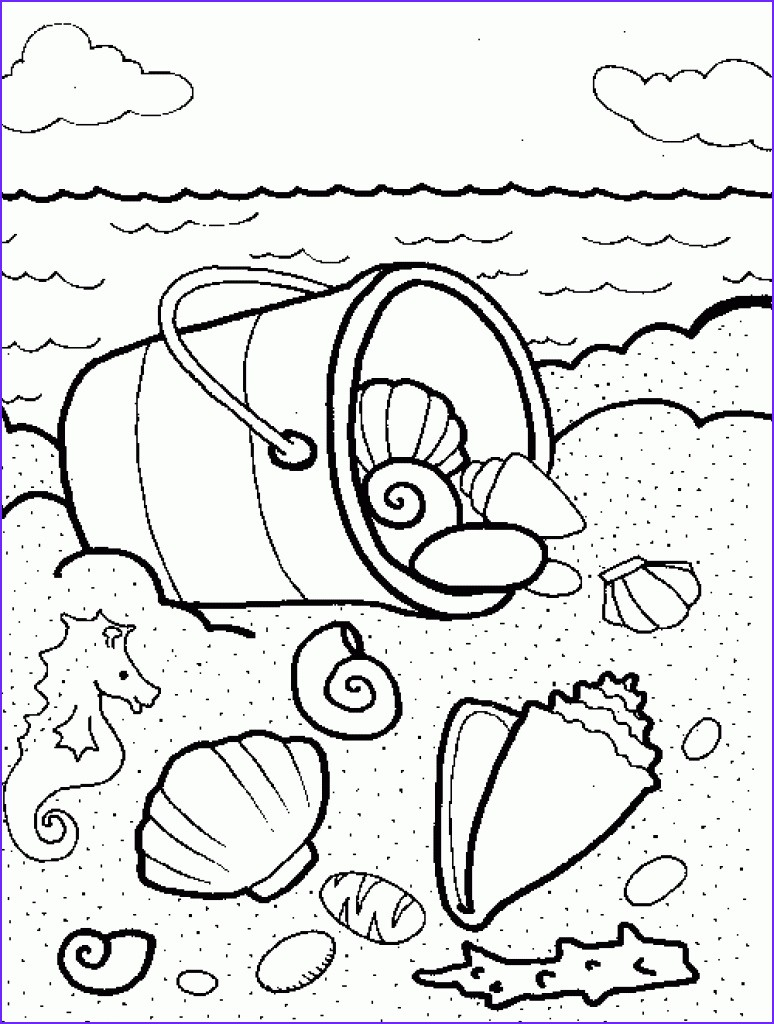 collecting beautiful seashell on the beach colouring pages