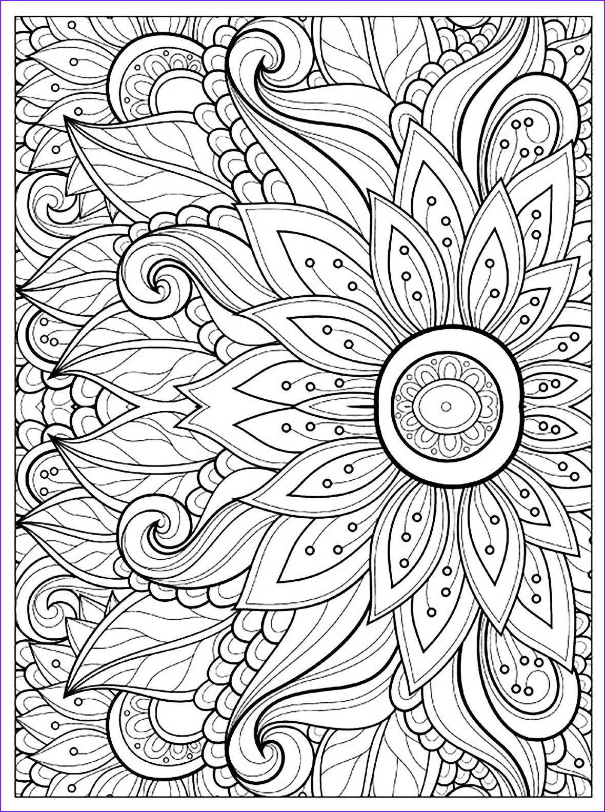 Coloring Pages Printable Adults Inspirational Image Flower with Many Petals Flowers Adult Coloring Pages