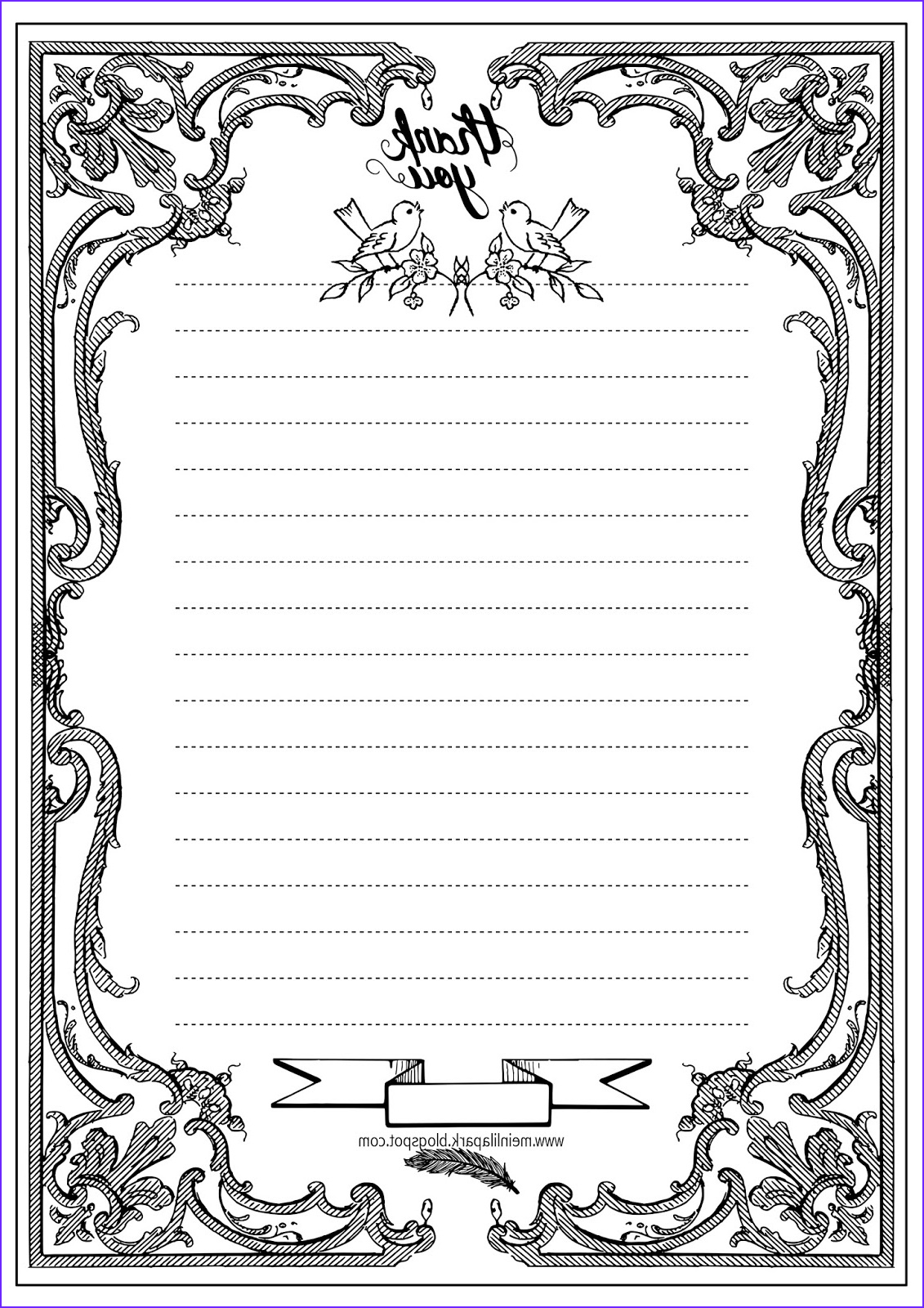 Coloring Paper to Print Awesome Stock Free Printable Thank You Writing Paper Ausruckbares