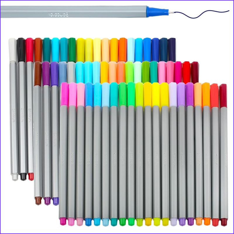Coloring Pens Cool Gallery Magicfly 60 Colors Colored Fineliner Pen Set 0 4mm Fine