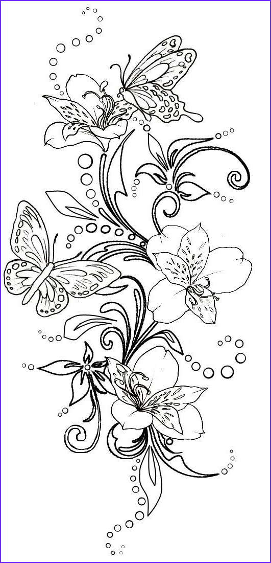 Coloring Pictures Of Flowers and butterflies Cool Image Fleur Papillon Flower butterfly Coloriage Coloring