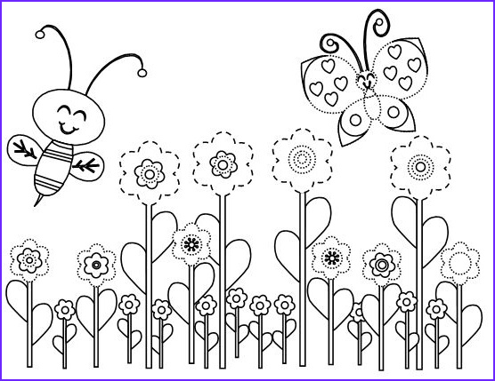 Coloring Pictures Of Flowers and butterflies Unique Collection butterfly with Flowers Coloring Pages Home