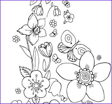 Coloring Pictures Of Flowers and butterflies Unique Collection Coloring Pages Flowers and butterflies