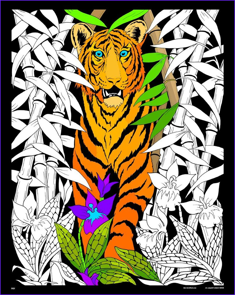 Coloring Poster Awesome Stock Bamboo Tiger 16x20 Inch Fuzzy Velvet Coloring