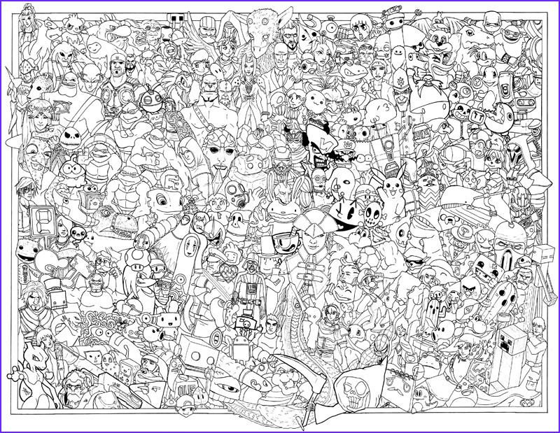 video game coloring poster by austin alander