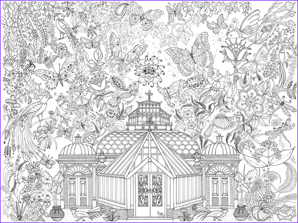 glass house garden colouring in poster by amanda loverseed