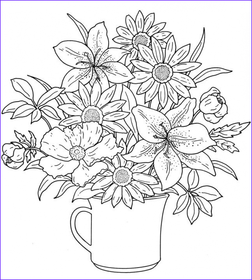 realistic flowers coloring pages for adults raf61