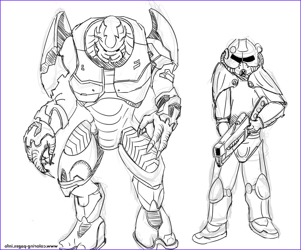 brotherhood of steel and elites from halo by zonalar printable coloring pages book