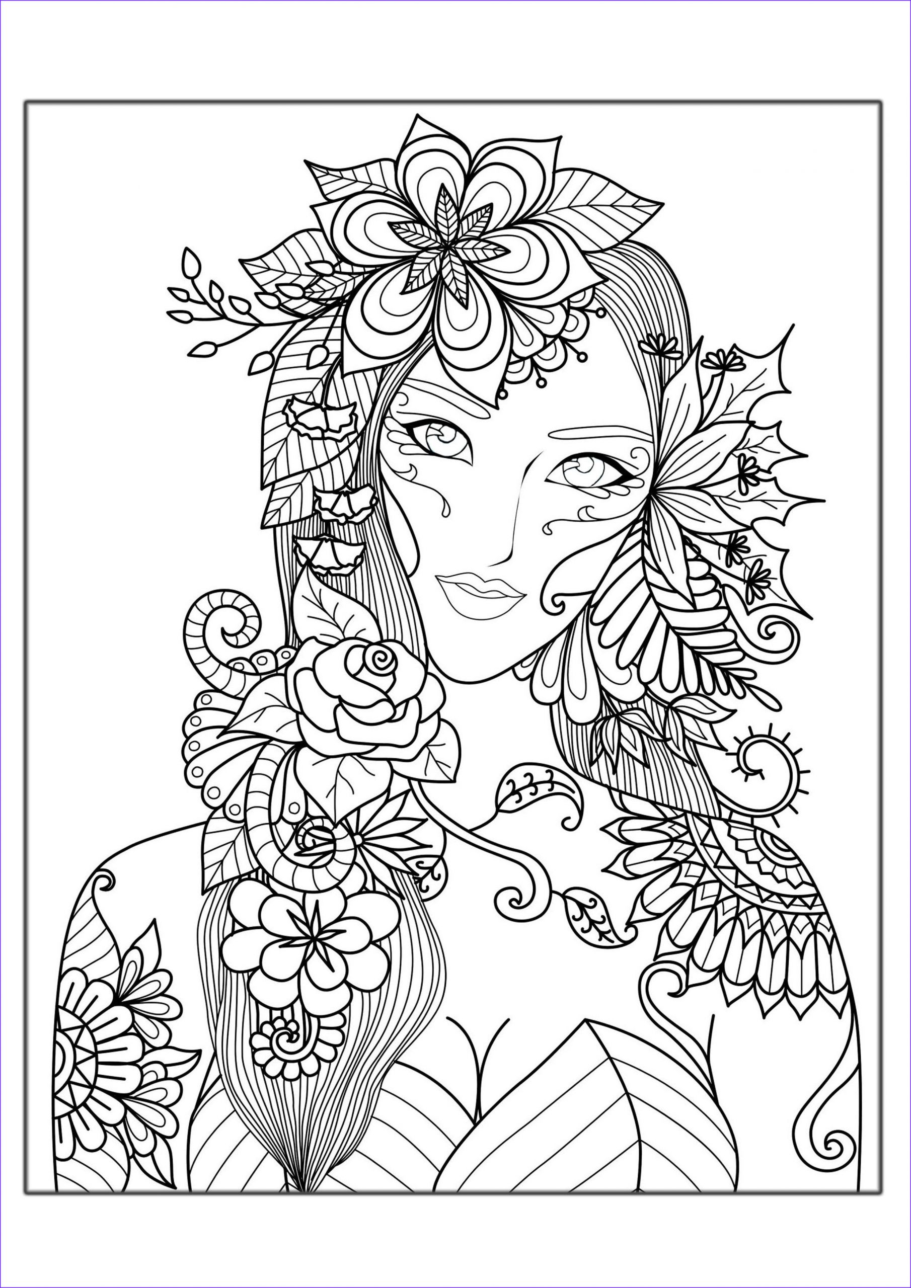 6 image=anti stress coloring page adults woman flowers 1