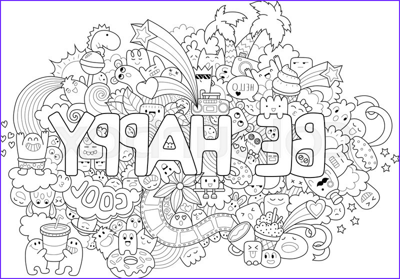 printable coloring page for adults with cartoon characters hand drawn vector illustration freehand sketch for adult anti stress coloring book page vector