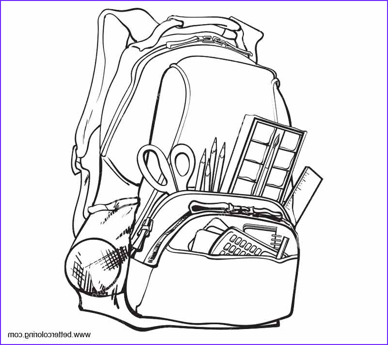 Coloring Supplies Awesome Image School Supplies Coloring Pages with School Bag Free