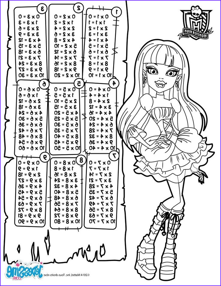 Coloring Table Cool Photography Multiplication Table Monster High Coloring Page