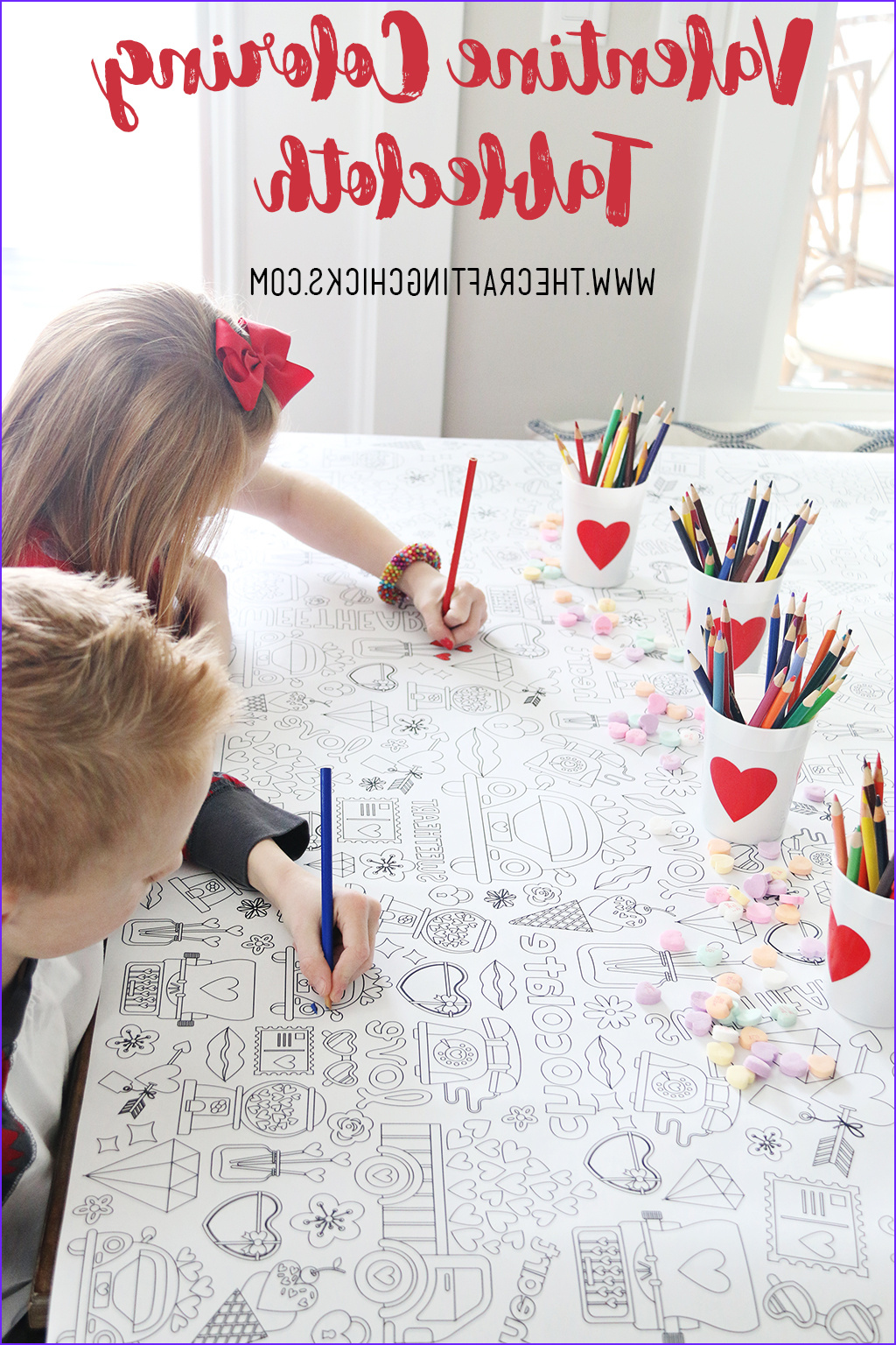 valentines day coloring tablecloth