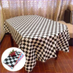 Coloring Tablecloth Elegant Stock Disposable Color Racing Flags Black And White Grid Thicken