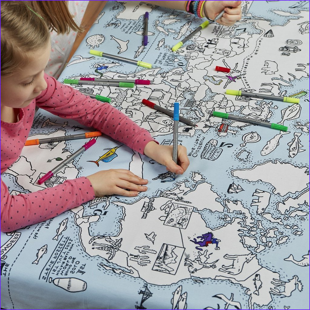 color learn world map tablecloth