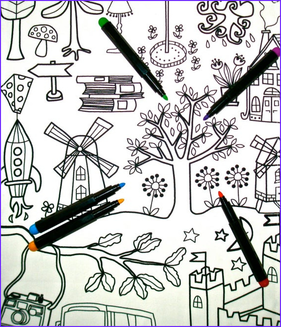coloring in table cloth kids craft party