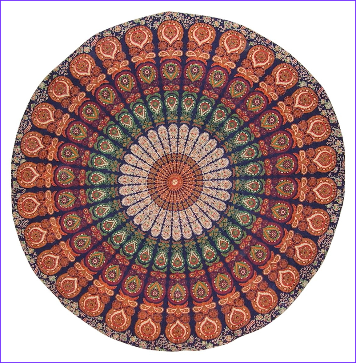 sanganeer print round cotton tablecloth 68 multi color
