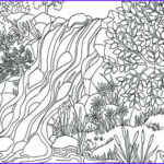 Coloring Waterfall Awesome Photos Printable Waterfall Nature Scene Coloring Page Coloring