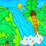 Coloring Waterfall Beautiful Stock How To Draw A Waterfall Kids Coloring Video