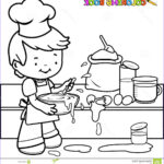 Cooking Coloring Pages Beautiful Image Boy Cooking And Making A Mess Coloring Page Stock Vector