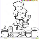 Cooking Coloring Pages Cool Image Boy Cooking Coloring Page Stock Vector Illustration Of