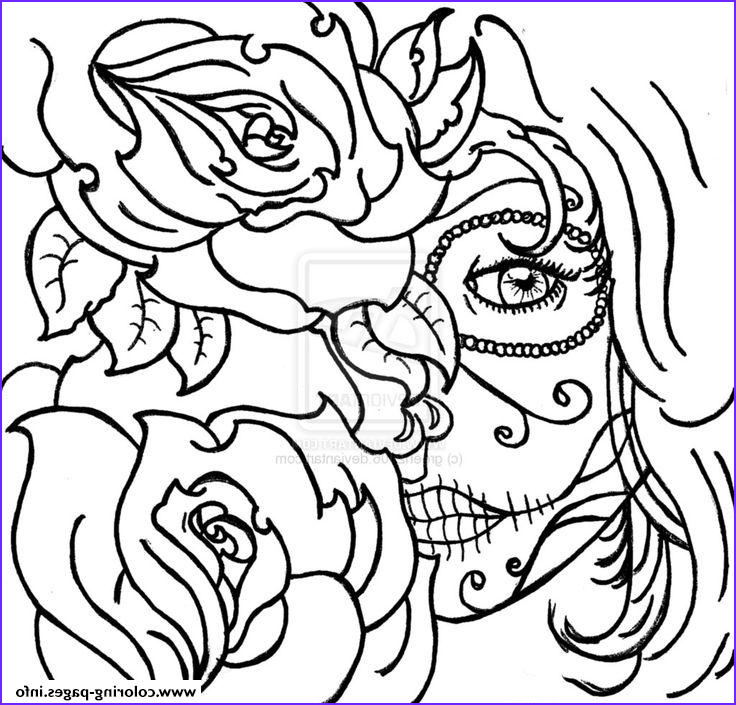 sugar skull woamn flowers cool printable coloring pages book