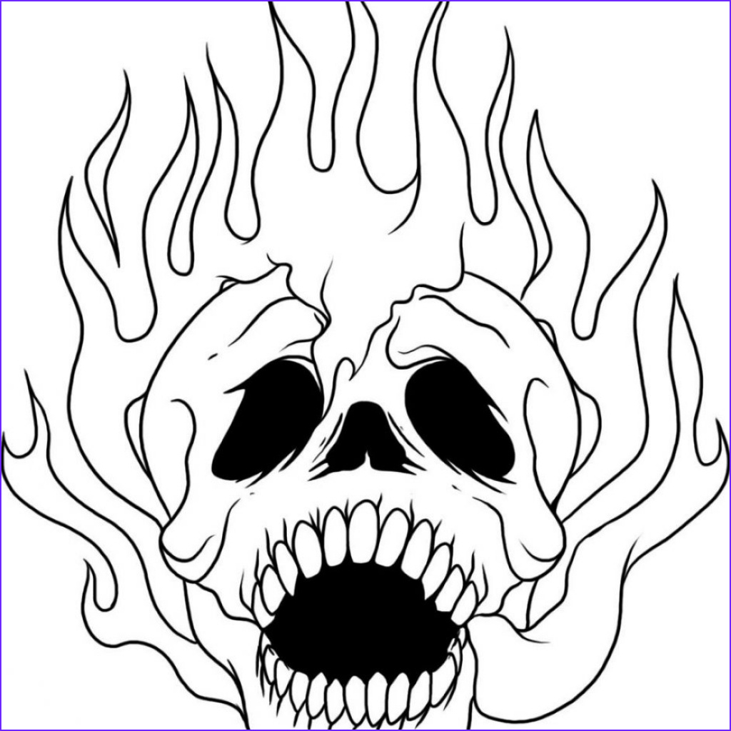 cool flaming skull coloring pages