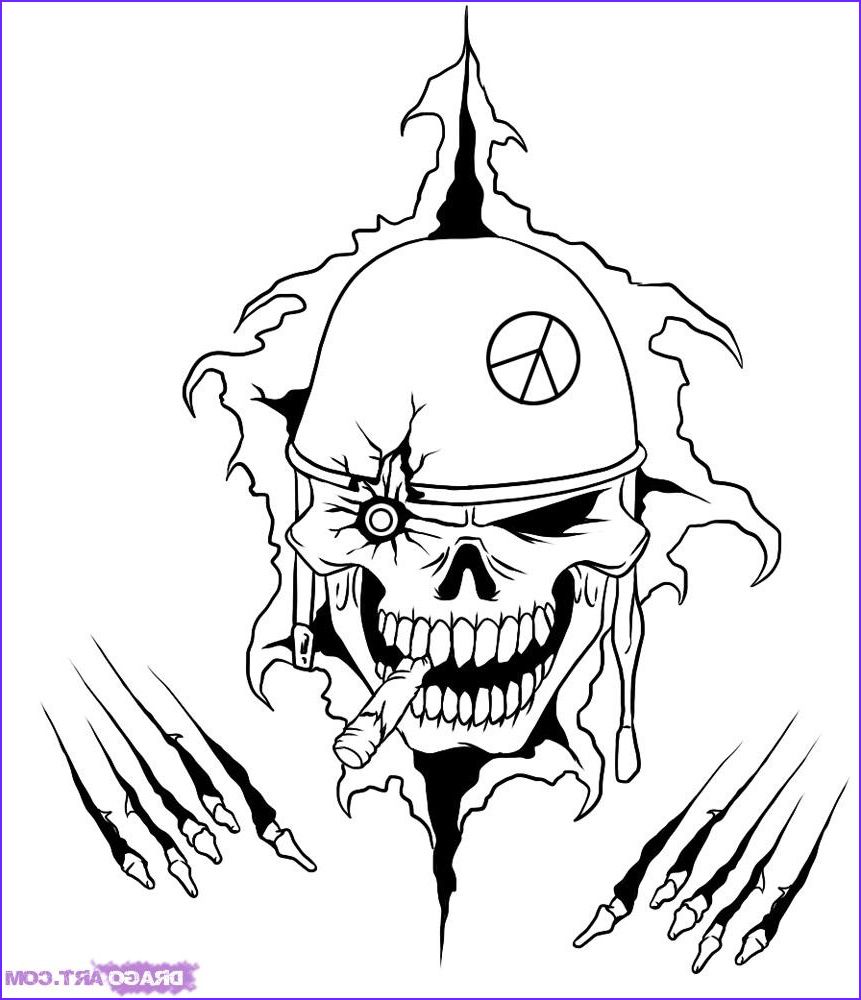 how to draw a war skull