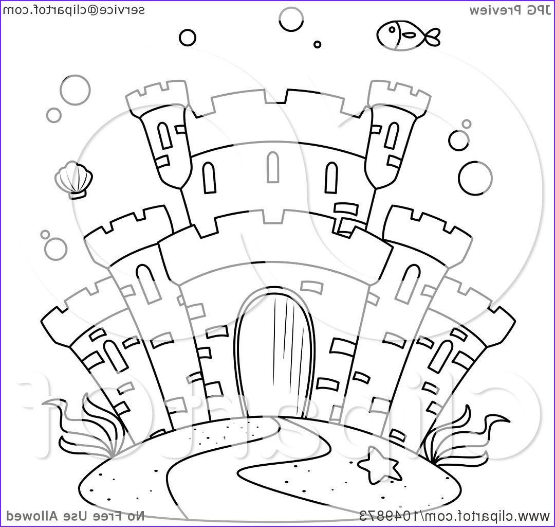 coloring page outline of a castle underwater