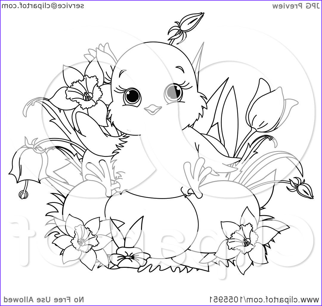 coloring page outline of a cute chick sitting on easter eggs