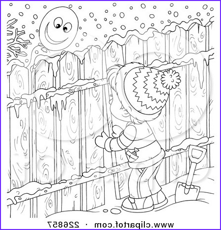 coloring page outline of a boy peeking through a fence at a balloon