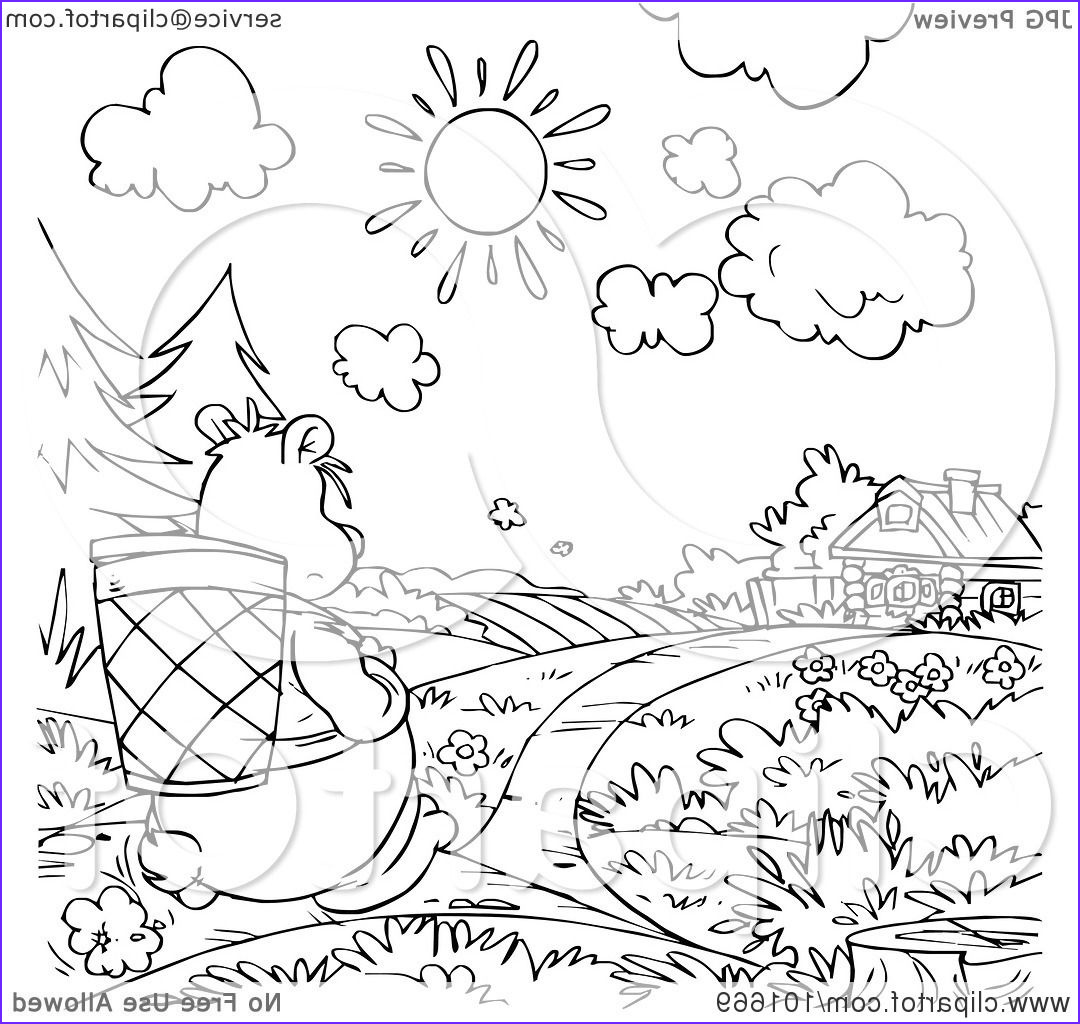 coloring page outline of a bear walking towards a cottage