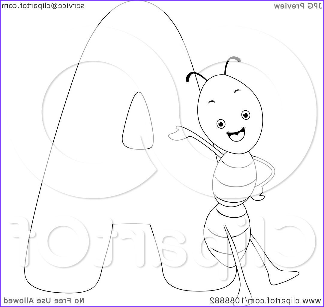 outlined a is for ant coloring page