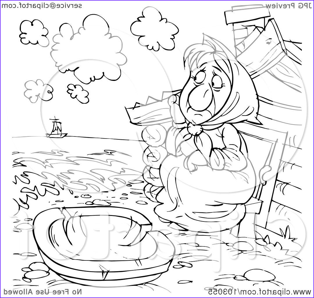 coloring page outline of a poor woman watching a boat