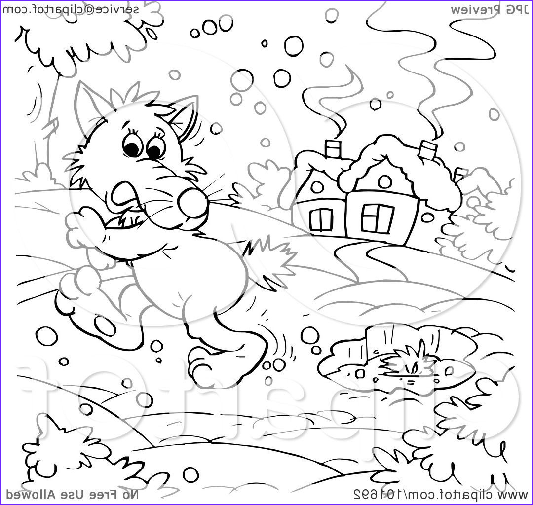 coloring page outline of a wolf walking in the snow
