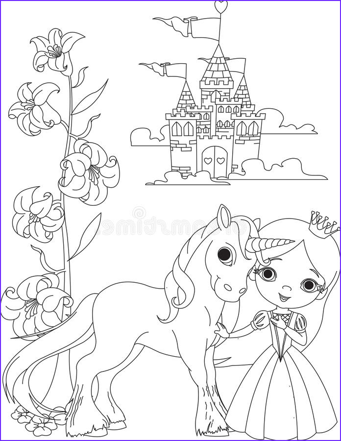 Copyright Free Coloring Pages New Stock Beautiful Princess and Unicorn Coloring Page Stock Vector