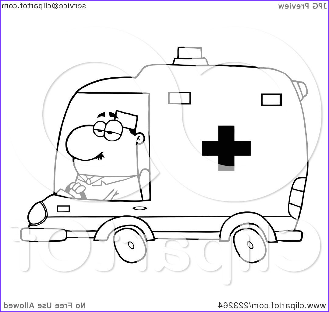 coloring page outline of a male ambulance driver