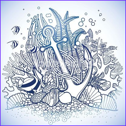 Coral Reef Coloring Pages Awesome Collection Anchor and Coral Reef Vector Art Thinkstock