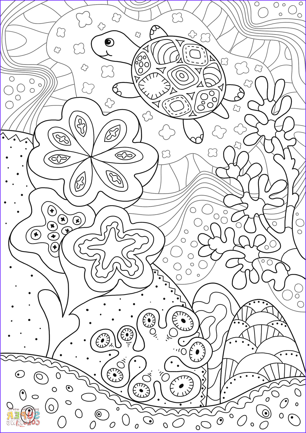 Coral Reef Coloring Pages Awesome Collection Cute Sea Turtle In Coral Reef Coloring Page
