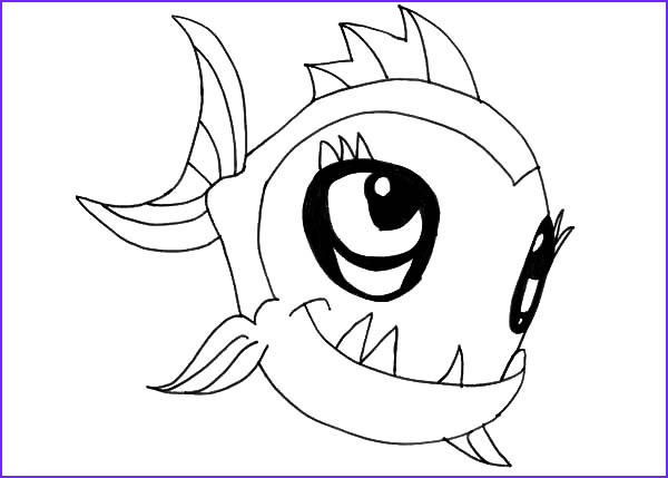 cute monster fish coloring pages