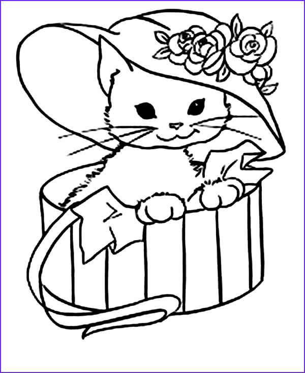 Cute Kitten Coloring Pages Beautiful Collection Cute Kitty Cat with A Fancy Hat Coloring Page Jpg Kitten