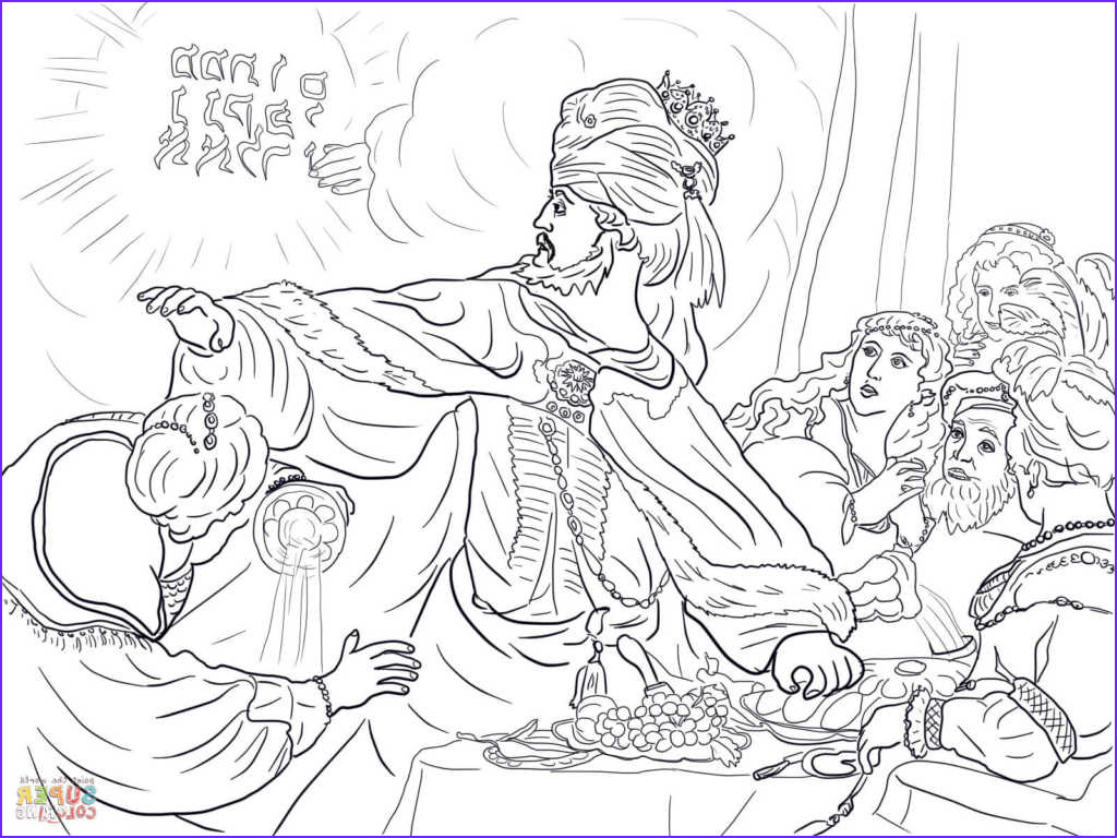4 king belshazzar and the writing on the wall coloring page for daniel coloring pages