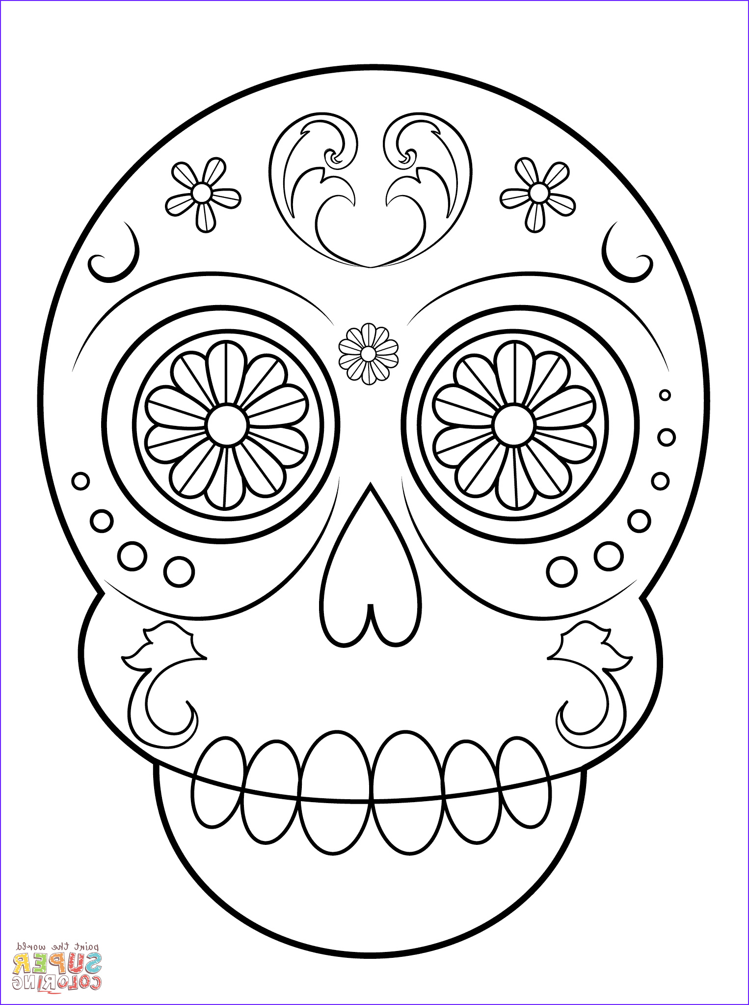 Day Of the Dead Coloring Pages Cool Stock Simple Sugar Skull Coloring Page