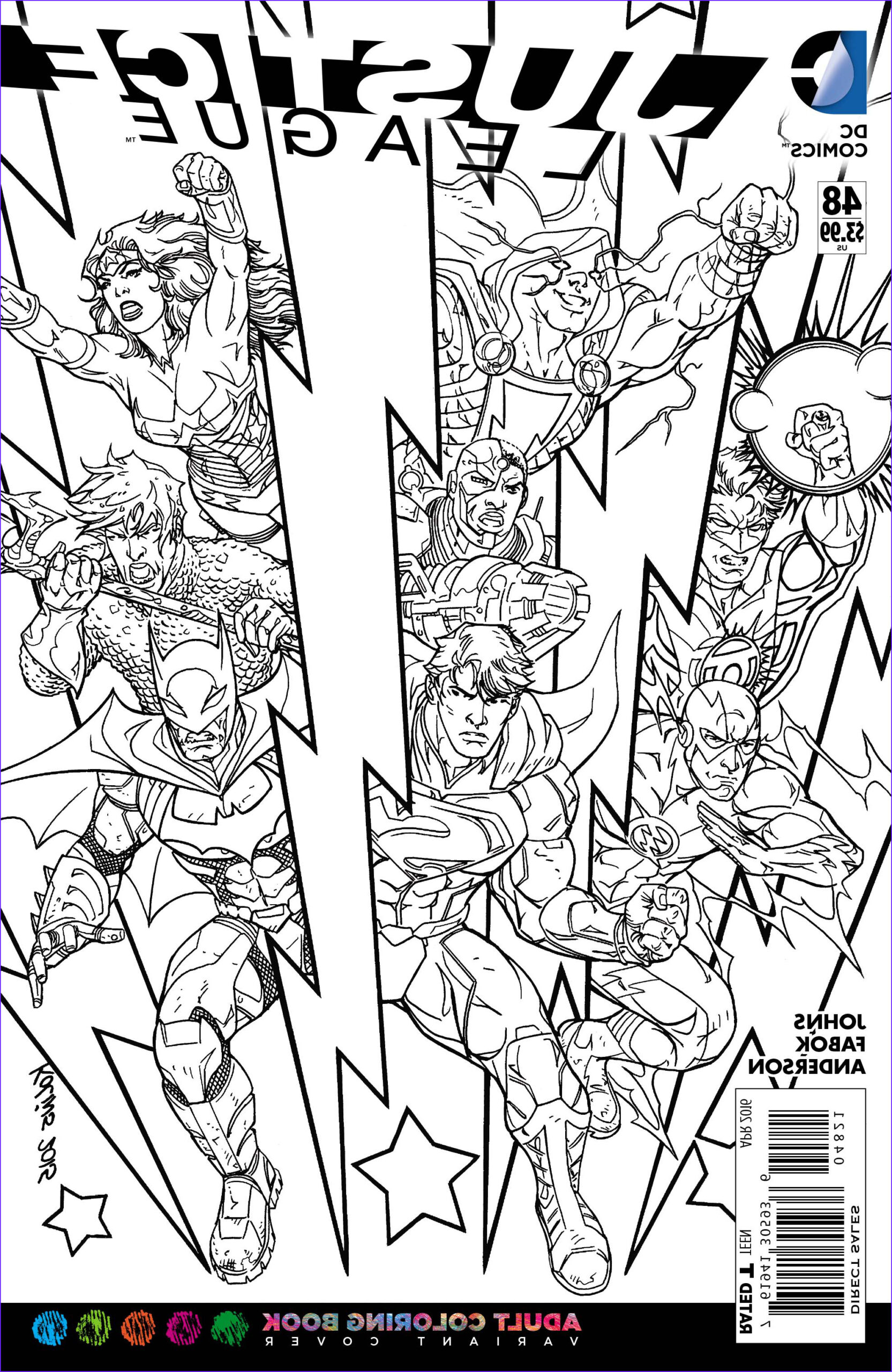 Dc Adult Coloring Book Beautiful Photography Previewsworld Justice League 48 Adult Coloring Book Var Ed