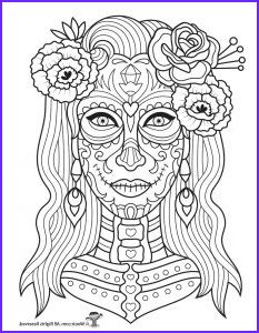 Dia De Los Muertos Coloring Sheets Cool Photos Day Of the Dead Adult Coloring Pages with Sugar Skulls